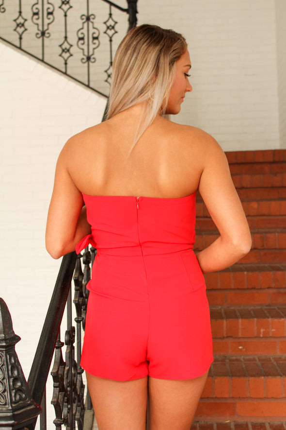 See It Happen Romper in Red