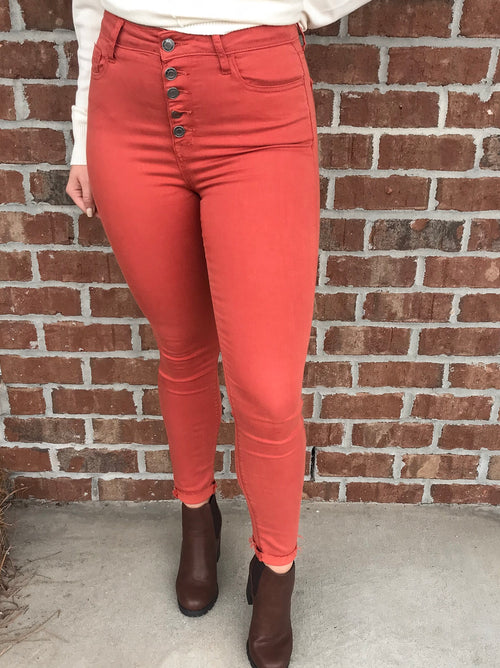 Maddie Bea High Rise Button Fly Skinny in Cognac