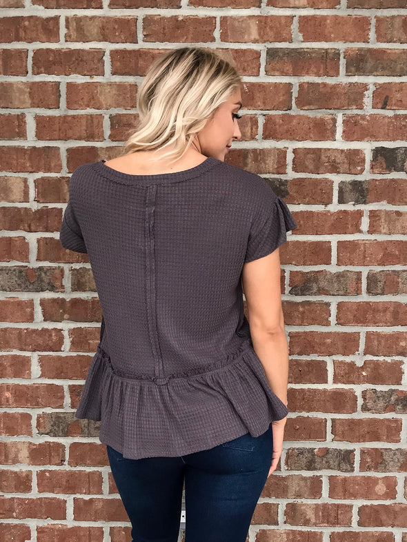 The Lady Like Top in Charcoal