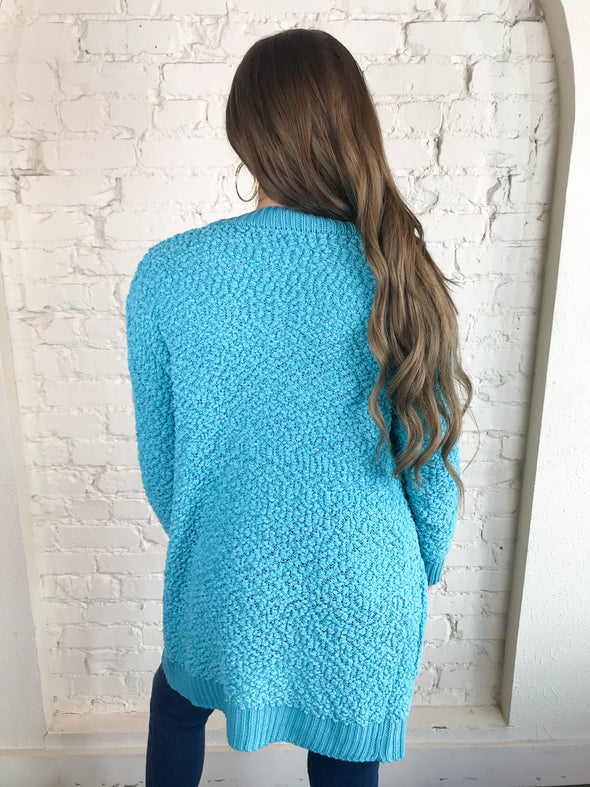 Sweep Me Away Cardigan in Aqua
