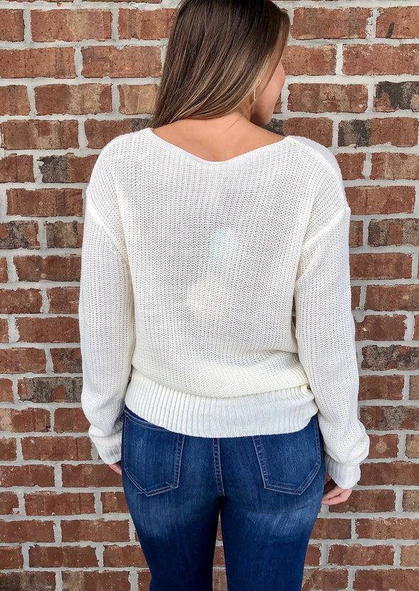 Twist and Turn Sweater in Ivory