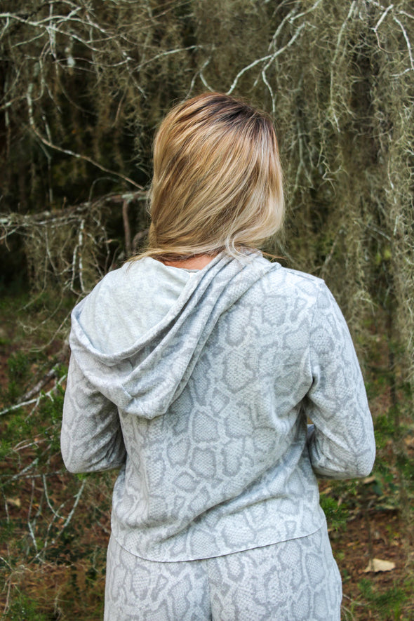 Me Time Hooded Top in Grey Snake