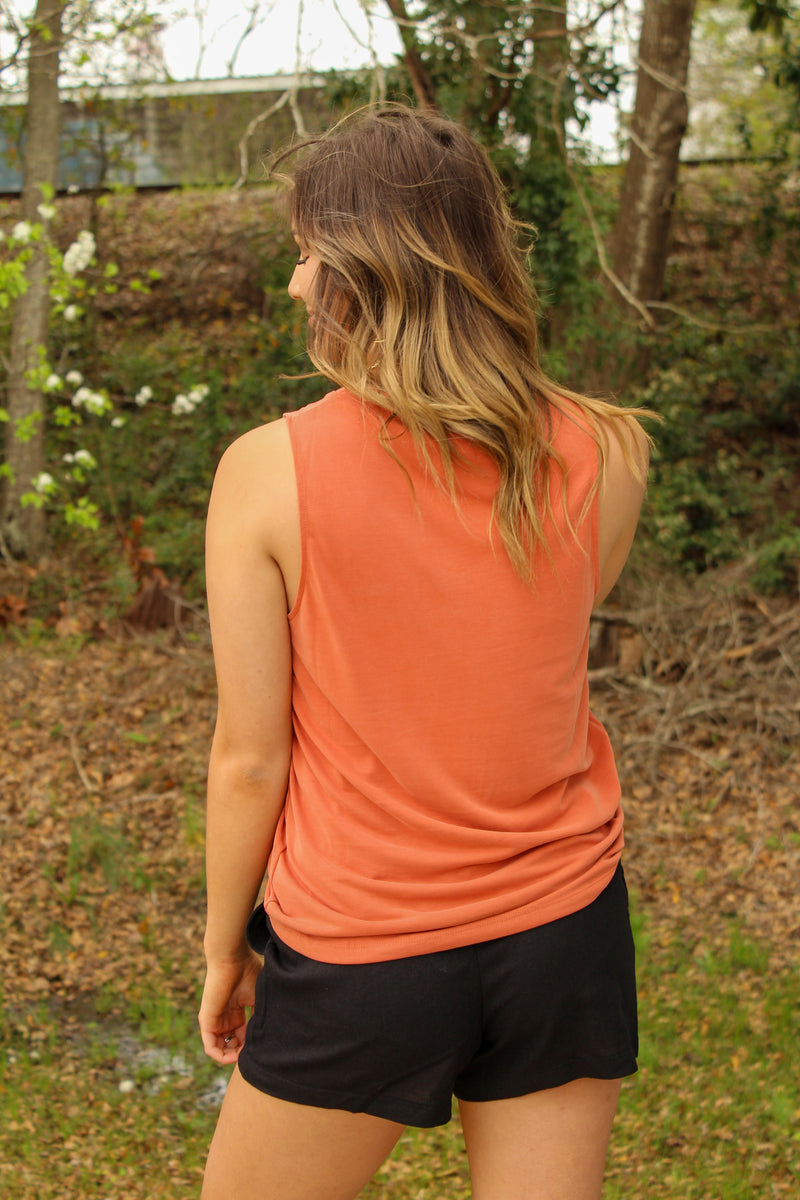 Maddie Bea Essential V Neck Tank in Terra Cotta