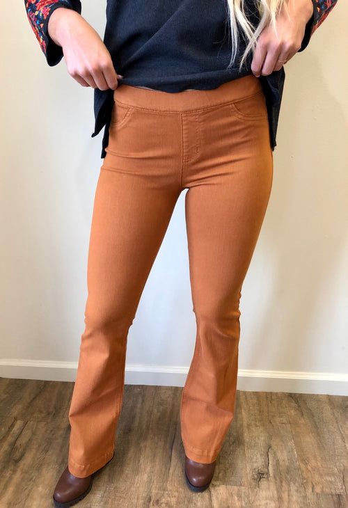 70's Pull on Flares in Caramel