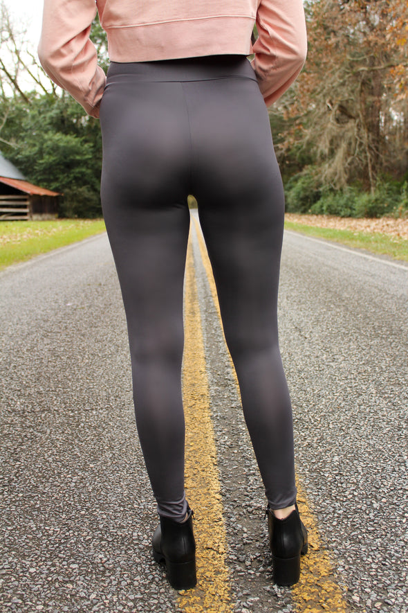 V Waist Leggings in Charcoal