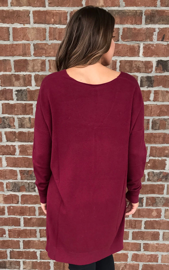 I'm A Soft Touch Sweater in Cabernet