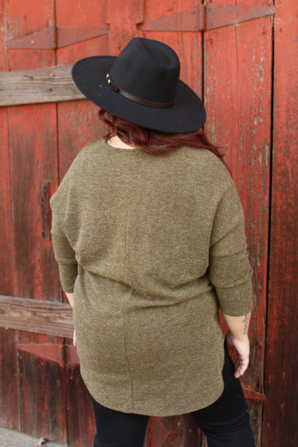 Back To The Good Curvey Top in Olive