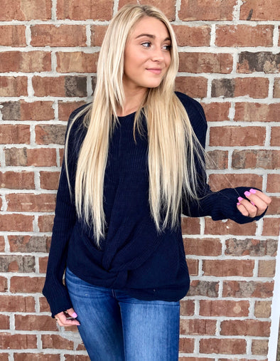 Twist and Turn Sweater in Navy
