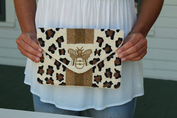 Beaded Bee Clutch in Leopard