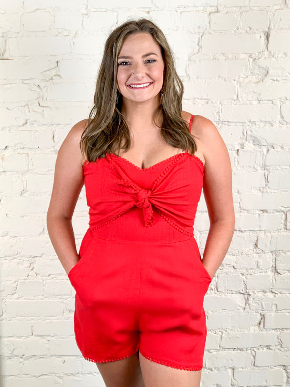 Let's Be Real Romper in Red