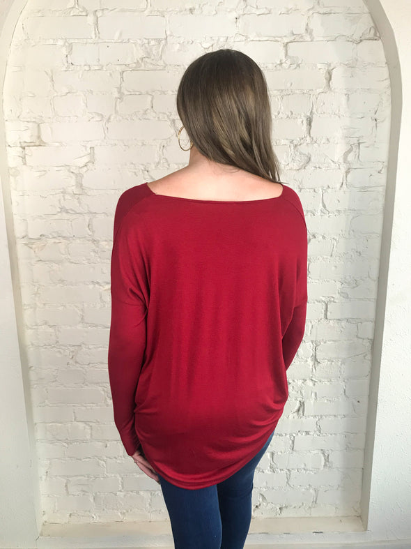 Breaking Free Long Sleeve Top in Deep Red