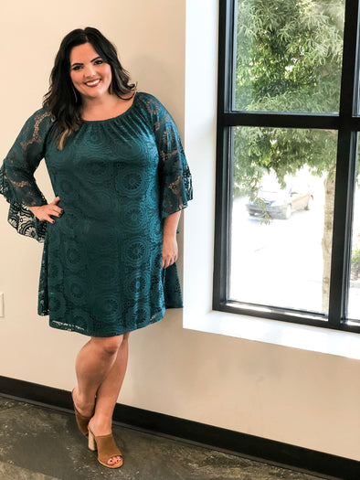 It's Just The Beginning Curvey Dress in Hunter Green