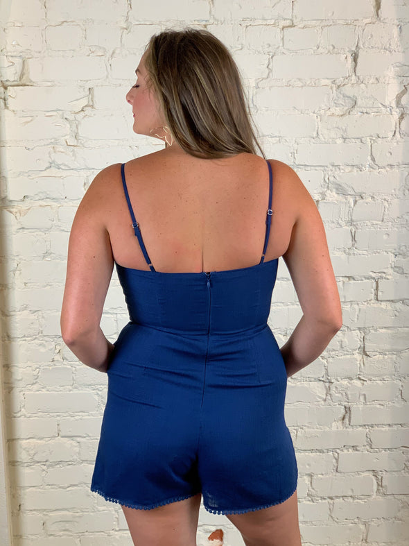 Let's Be Real Romper in Navy