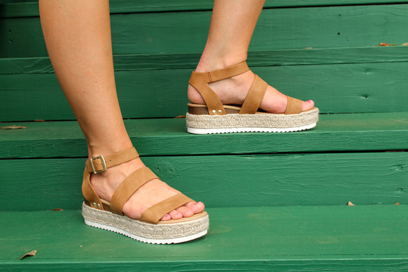 Wherever You Go Sandals in Tan