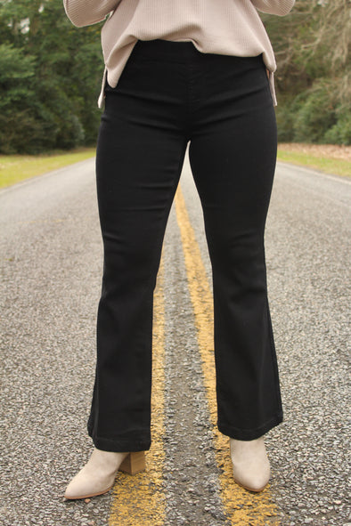 70's Pull On Flare in Black 30 Inch Inseam