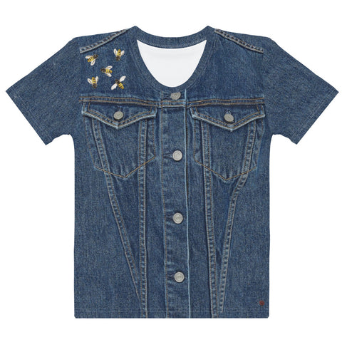 Faux Denim T-En Vogue with Bees on the Shoulder. Pre-order.