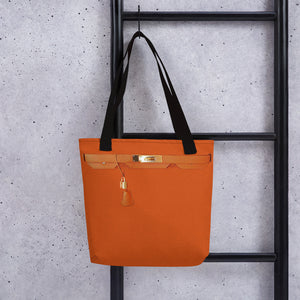 Faux Orange Tote Bag with Gold Accessories.Pre-Order.