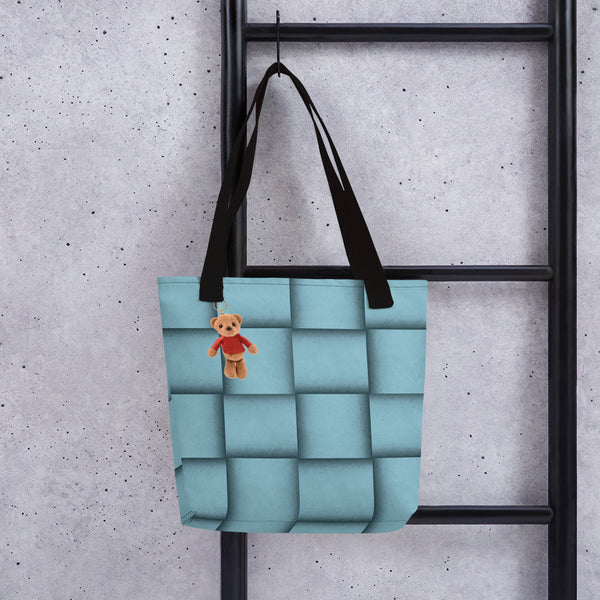 Faux Baby Blue Leather Tote Bag with Teddy bear.Pre-order.