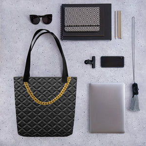 Faux Black LeatherTote Bag with Faux Gold chain. Printed.