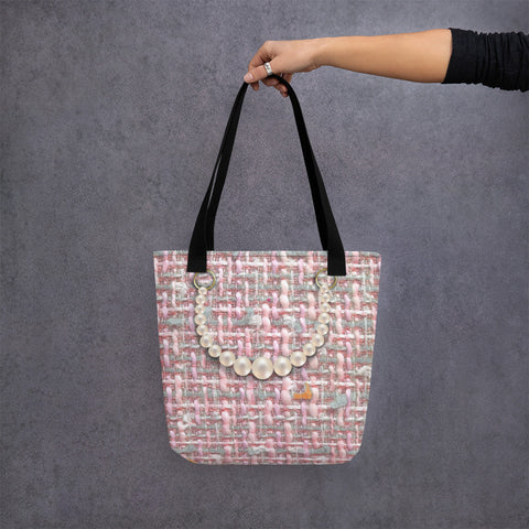 Printed Pink Tote Bag with printed pearls.