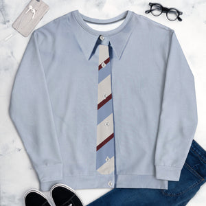 Faux Baby Blue shirt with Faux Stripes Tie S-En Vogue.Pre-order.