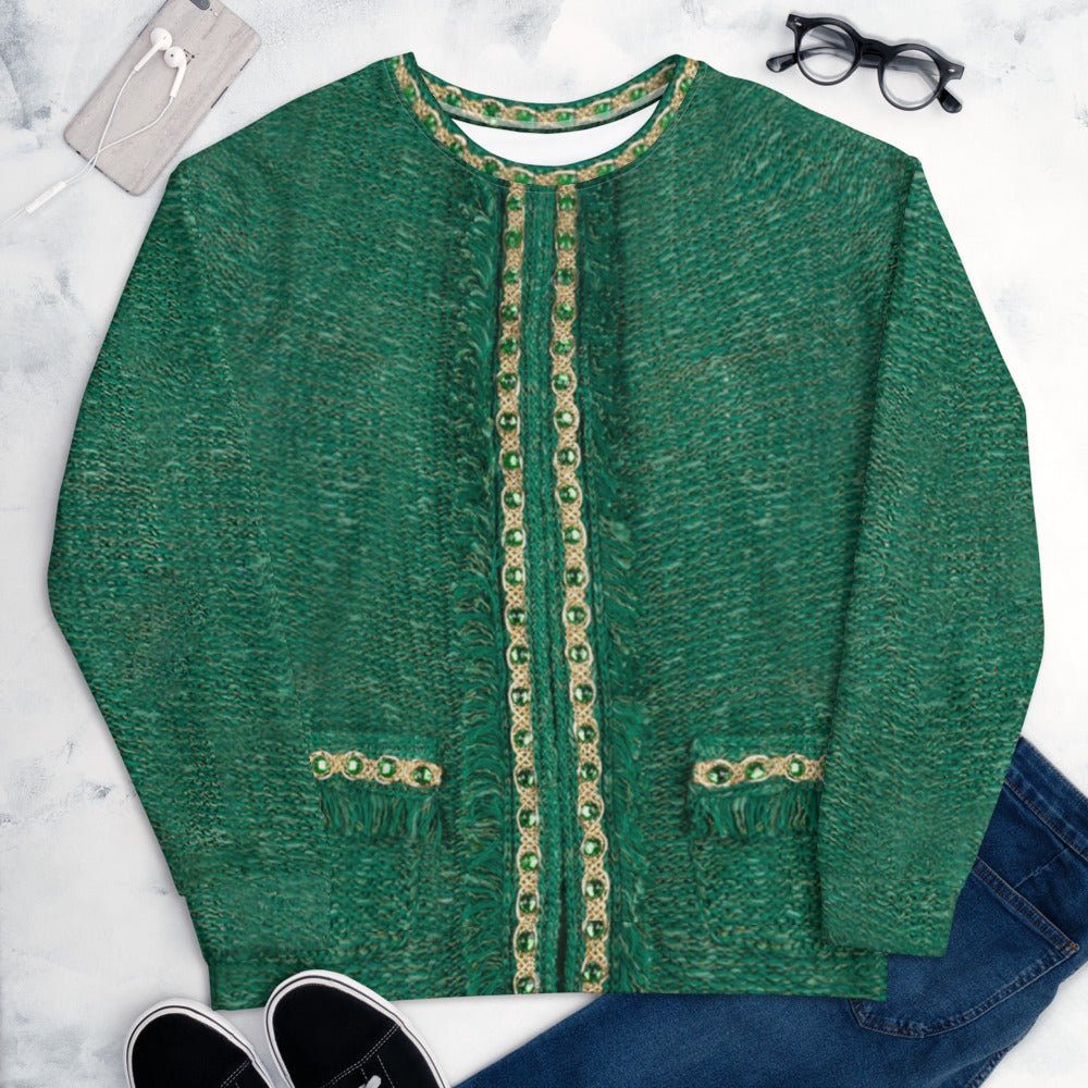 Faux Green Jacket with Faux Gold Chain S-En Vogue.Pre-order.