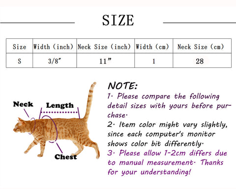 sizing chart for cat collars