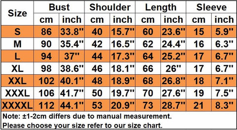Sizing chart for shirts
