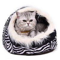 Cat Cave Bed With Fur - Bow Chicka Meow Meow