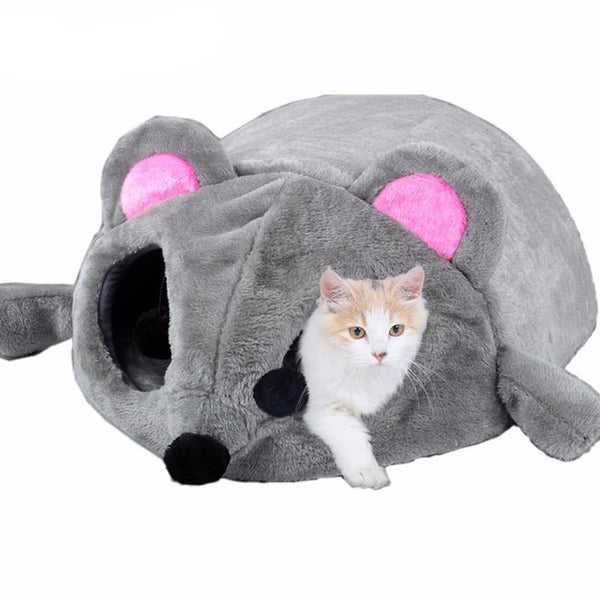 Grey Cat Mouse Bed - Bow Chicka Meow Meow