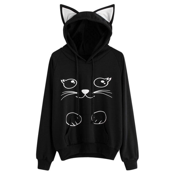 Women's Cat Eared Hoodie Sweatshirt - Bow Chicka Meow Meow