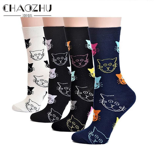 Women's Cat Socks - Bow Chicka Meow Meow