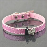 Rhinestone Leather Cat Collar - Bow Chicka Meow Meow