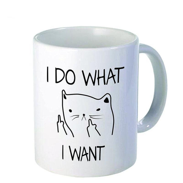 Funny Middle Finger Cat Mug - Bow Chicka Meow Meow