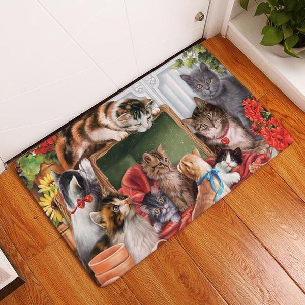 Anti- Slip Welcome Door Mats - Bow Chicka Meow Meow