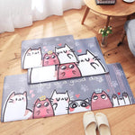 Cartoon Cat Pattern Rug - Bow Chicka Meow Meow