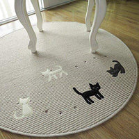 Round Decorative Cat Rug - Bow Chicka Meow Meow