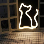 Neon Cat Lamp - Bow Chicka Meow Meow