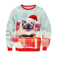 Funny Cat Christmas Sweatshirts - Bow Chicka Meow Meow