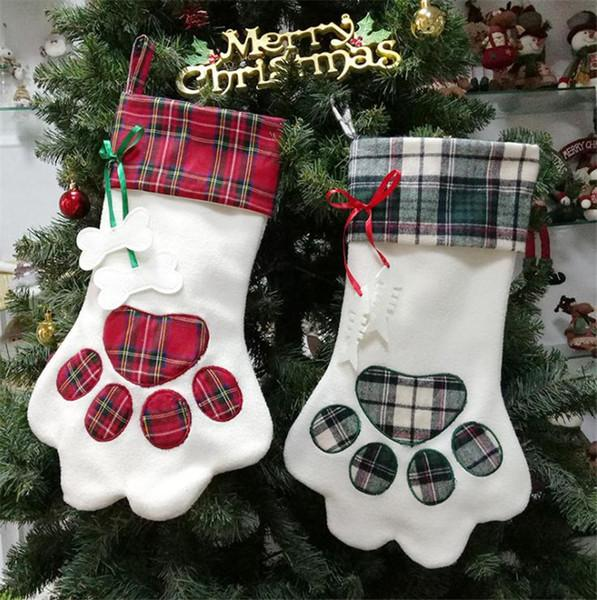 Cat And Dog Paw Christmas Stockings - Bow Chicka Meow Meow