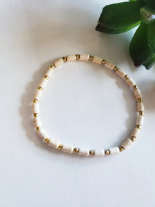 Sandstone  & gold stretch bracelet