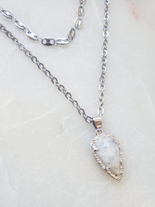 Double Moonstone Chain Necklace