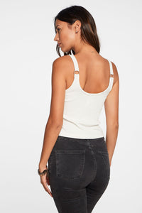 Ribbed Cropped Double Scoop Ring Tank