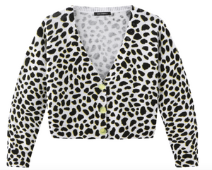 Cropped Leopard Button Cardi