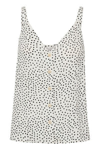 Caren Dot Print Button Tank