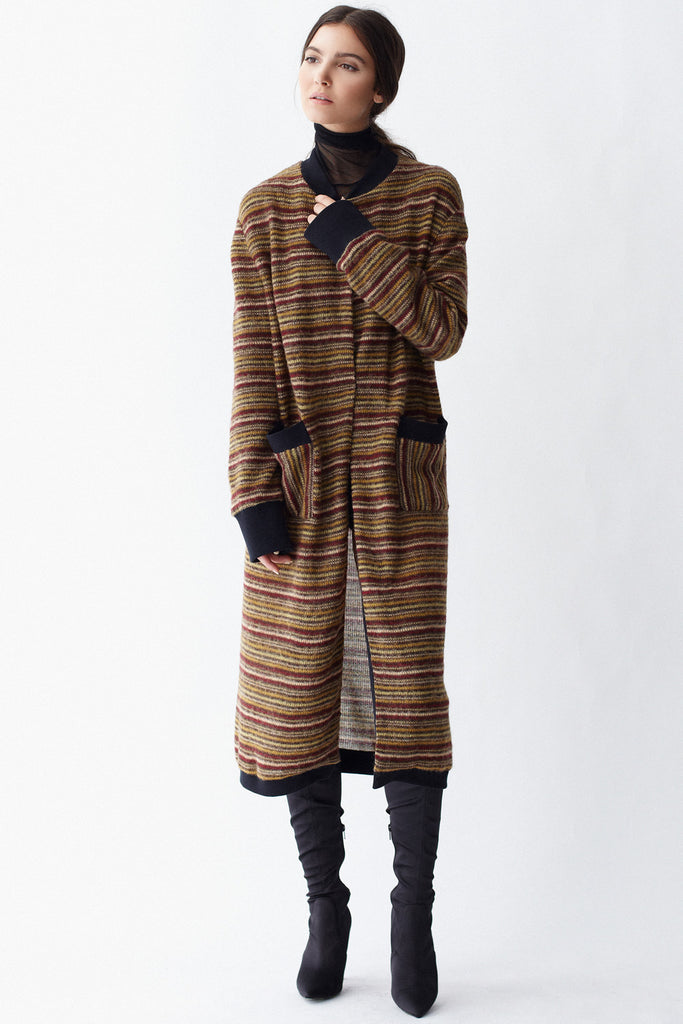 KAI & KLO full length strip cardigan.