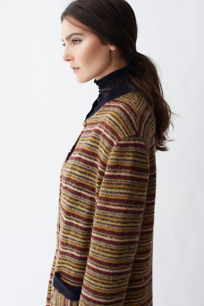 Close-up of KAI & KLO full length strip cardigan.