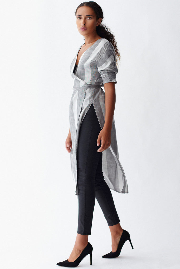 KAI & KLO grey stripe linen dolman wrap dress.