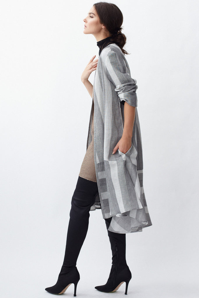 KAI & KLO grey stripe linen a-line dress with ruffle skirt.