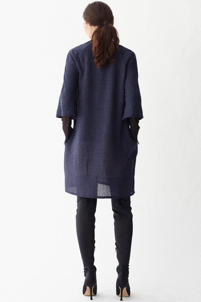 KAI & KLO navy linen blend tunic dress with pockets.